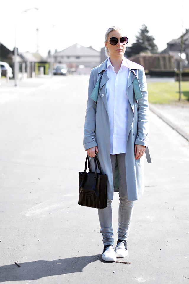 Round sunglasses, primark, white shirt, trench coat, how to wear, minimalism, fashion blogger, street style