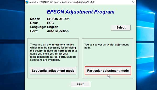 resetter epson expression premium XP-721