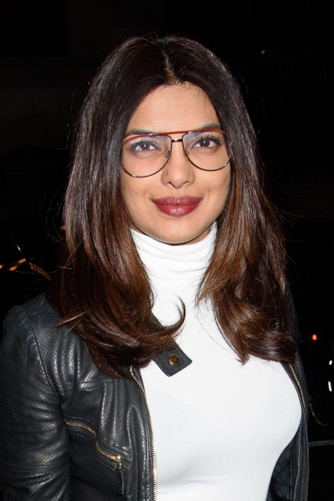Priyanka Chopra In Black Leather Jacket With Glass