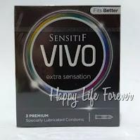 Kondom Vivo Extra Sensation isi 3 - bintik dan berulir