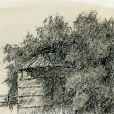 charcoal drawing sketch abandoned granary overgrown