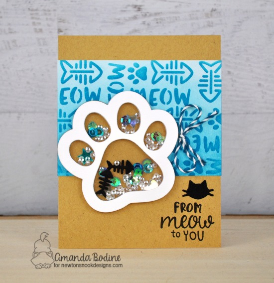 Pawprint Shaker Card by Amanda Bodine | Cat-itude Stamp Set, Pawprint Shaker Die & Meow Stencil by Newton's Nook Designs #newtonsnook #handmade