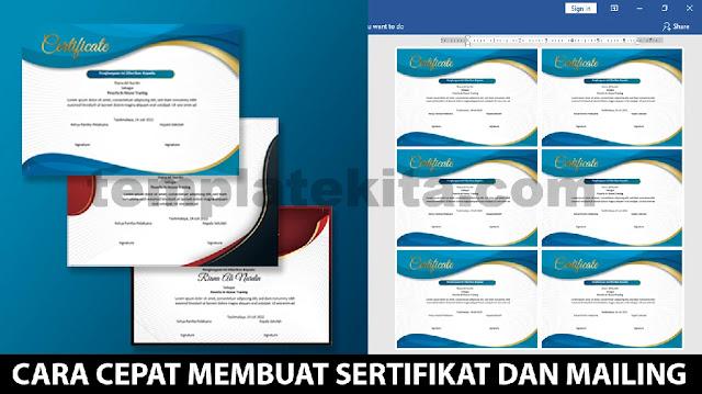 Cara Cepat Membuat sertifikat Inhouse Training Word Dengan Mailing Merge