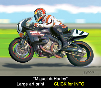 Harley Davidson VR1000 art scene, Miguel Duhamel reproduction print for sale