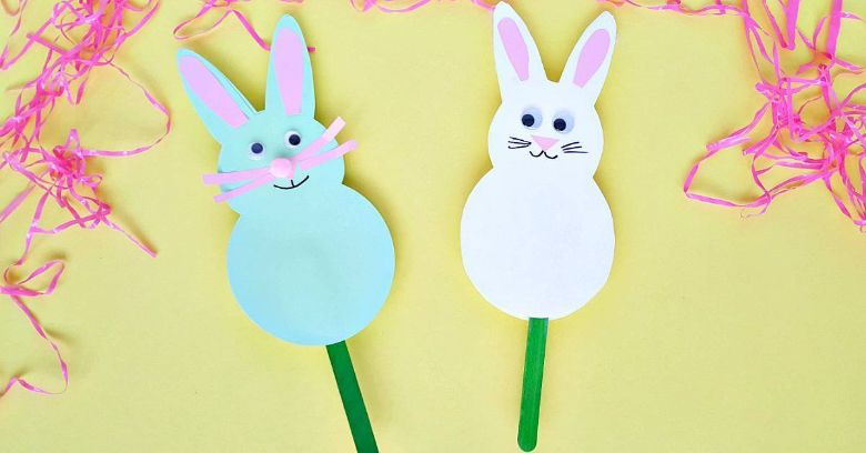Easter crafts for toddlers - bunny stick puppet craft