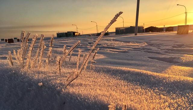 Sub-zero temperatures sunrise at the Argentina border in Tierra del Fuego