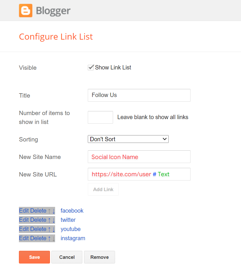 Social Button on Sidebar