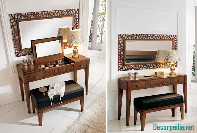 Modern dressing table design ideas with mirror, wooden dressing table