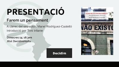 """Presentació virtual de """"Farem un pensament. Metaforismes i saials"""", de Manel Rodríguez-Castelló"""