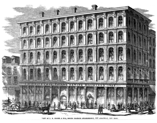 Singer sewing machines, first showroom and headquarters 1857 NYC