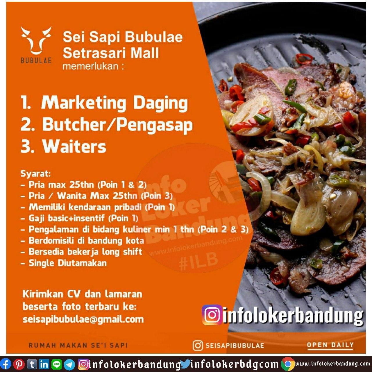 Lowongan Kerja Sei Sapi Bubulae Setrasari Mall Bandung Juni 2020