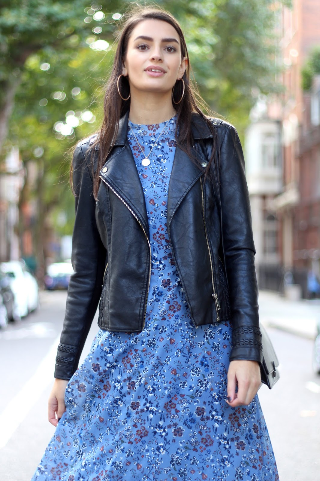 glamorous river island leather jacket midi dress peexo autumn style