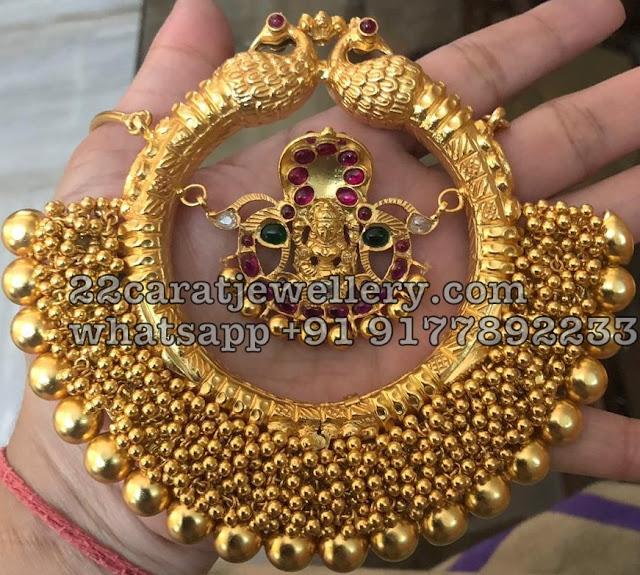 925 Silver Antique Peacock Lakshmi Choker