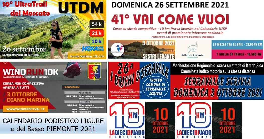 Calendario Podistico 2021 - classifiche - locandine - video 3D - link web / Facebook