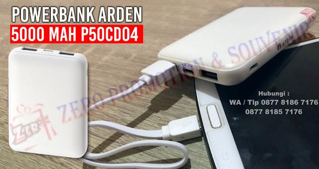 Souvenir Powerbank Arden 5000 mAH P50CD04, Souvenir Powerbank Promosi 5000mAh, Powerbank P50CD04