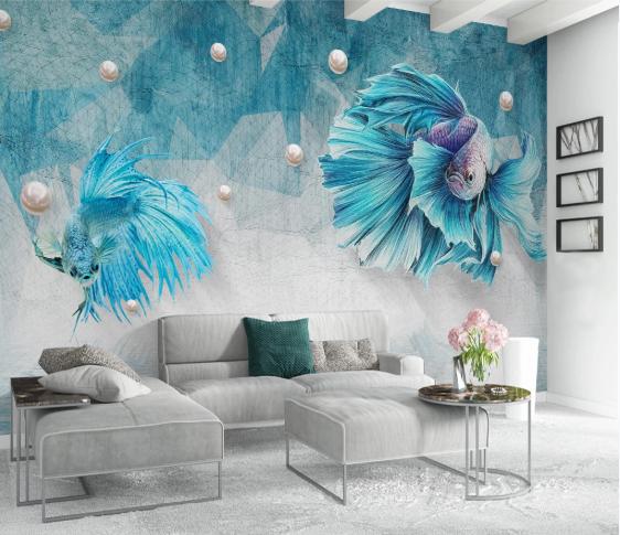 Tranh Dán Tường 3D Cá Trang Trí Phòng Khách Đẹp