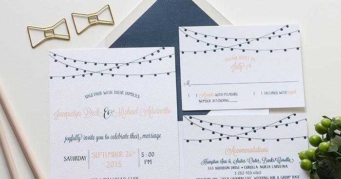 Navy And Peach Wedding Invitations: Blush Paperie: Peach & Navy String Light Wedding Invitations