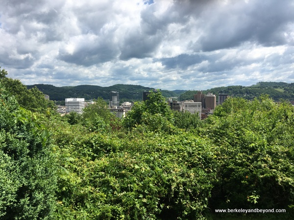 view of city from garden at top of Sunrise Carriage Trail in Charleston, West Virginia