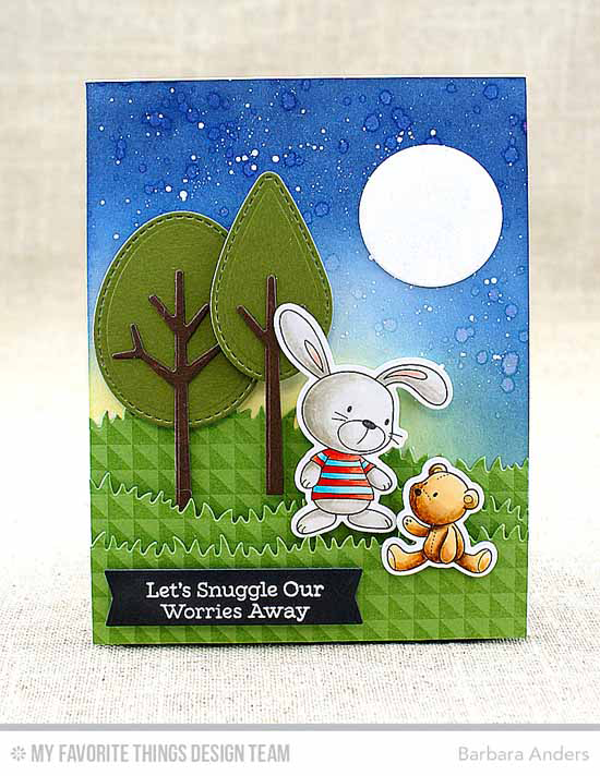 Handmade card from Barbara Anders featuring Snuggle Bunnies stamp set and Die-namics, Split Triangle Background stamp, Circle STAX Set i, Tree-mendous, Grassy Hills, and Tag Builder Blueprints 4 Die-namics #mftstamps
