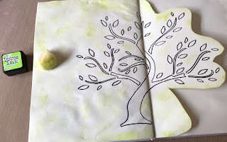 image tree outline in art journal with green ink and sponge