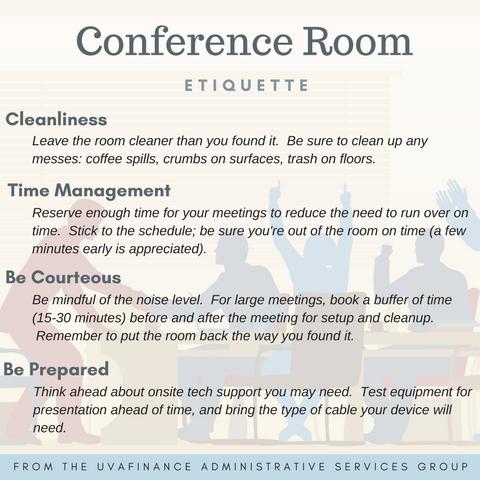 uva finance conference room etiquette. Black Bedroom Furniture Sets. Home Design Ideas