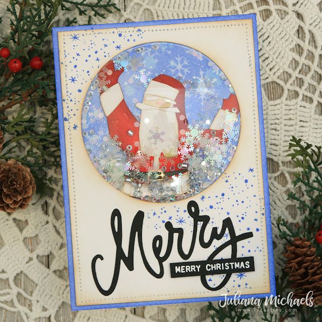 Merry Merry Christmas Shaker Card by Juliana Michaels featuring Tim Holtz and Sizzix Shaker Domes