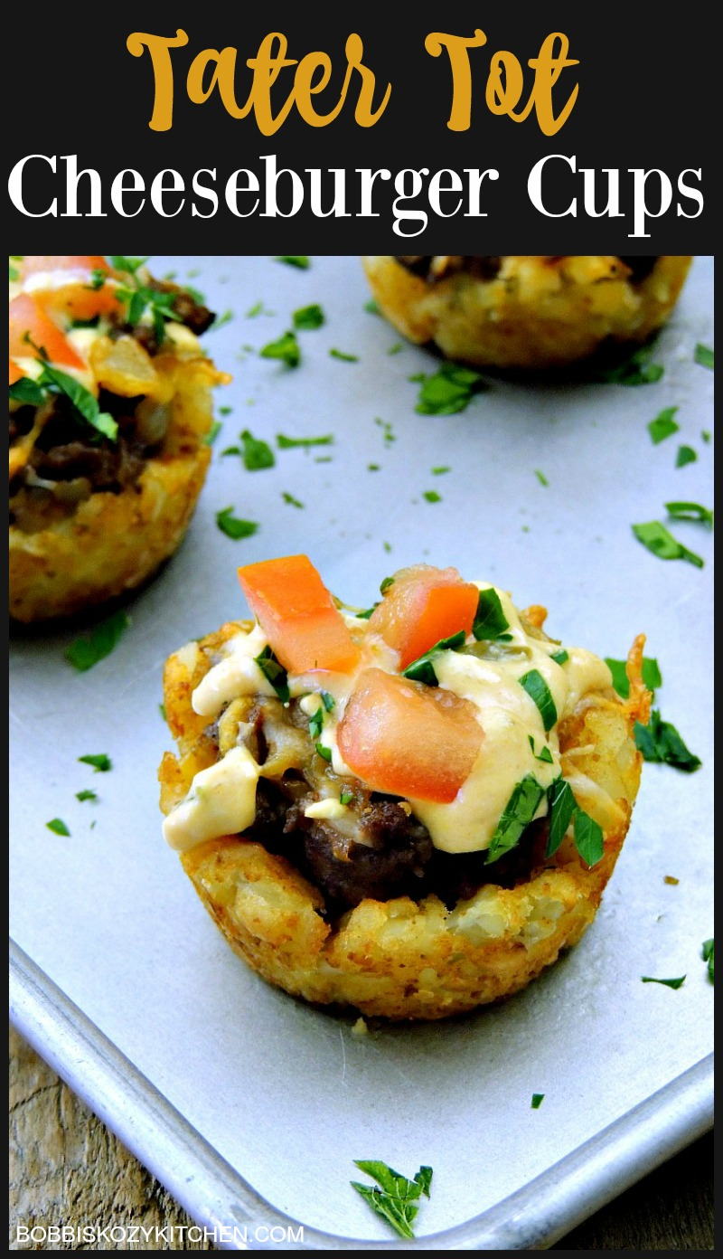 Change up your burger game with these fun, kid friendly, Tater Tot Cheeseburger Cups. From www.bobbiskozykitchen.com