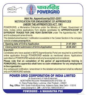 POWERGRID NR-I Recruitment 2021 134 Apprentice Posts
