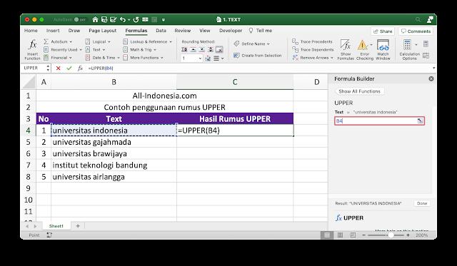 Rumus UPPER Pada Excel