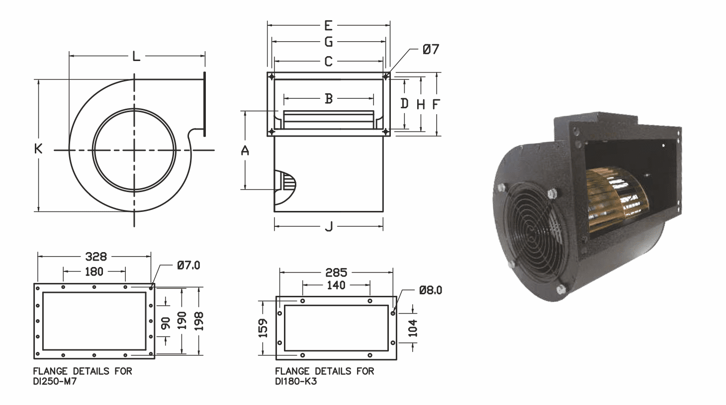 Dimensions - Double Inlet Centrifugal Blowers