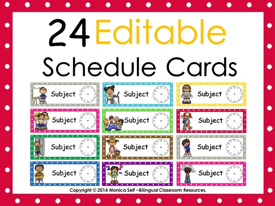 Easy, kid-friendly and editable schedule cards will allow you and your students to be successful with their day!