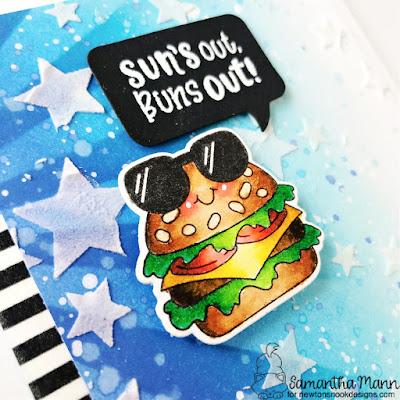 Suns Out, Buns Out Card by Samantha Mann for Newton's Nook Designs, Distress Inks, Ink Blending, Stencil, Burger, Summer, Handmade Cards, Card Making, #newtonsnook #newtonsnookdesigns #cardmaking #handmadecards #distressinks #Inkblending