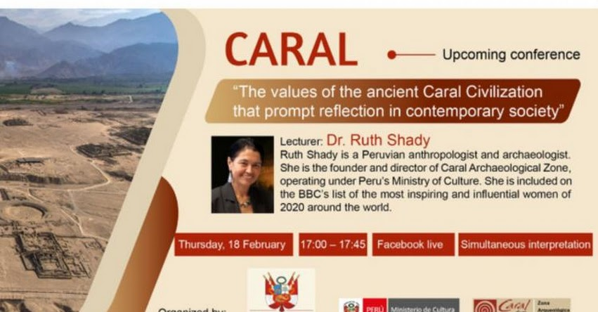 CIVILIZACIÓN CARAL: Arqueóloga Ruth Shady dará conferencia magistral a Reino Unido