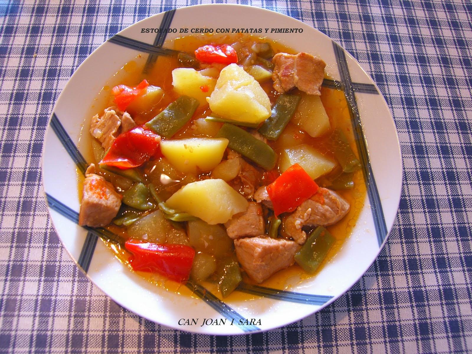Can joan i sara estofado de cerdo con patatas y pimiento - Guiso de carne de cerdo ...