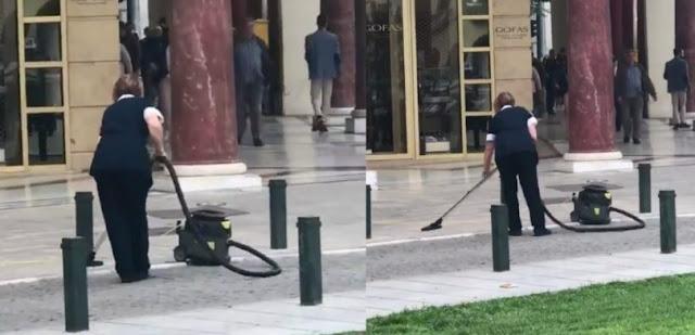 Γυναίκα έβαλε ηλεκτρική σκούπα έξω στην πλατεία Αριστοτέλους