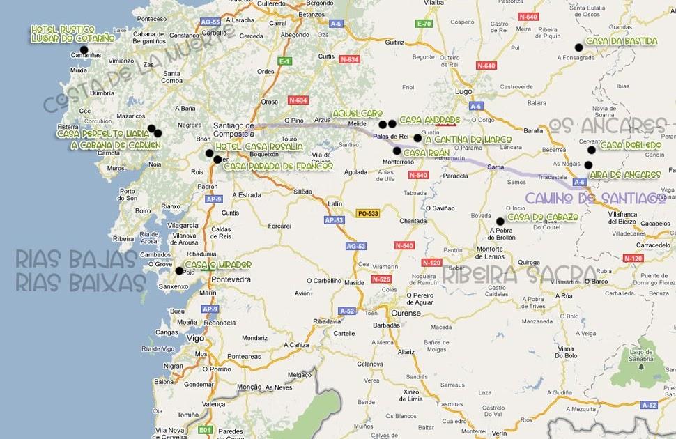 Mapa De Galicia Fisico Y Politico Espana