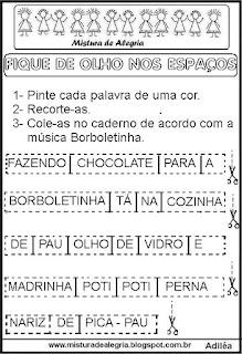 Atividades música da borboletinha