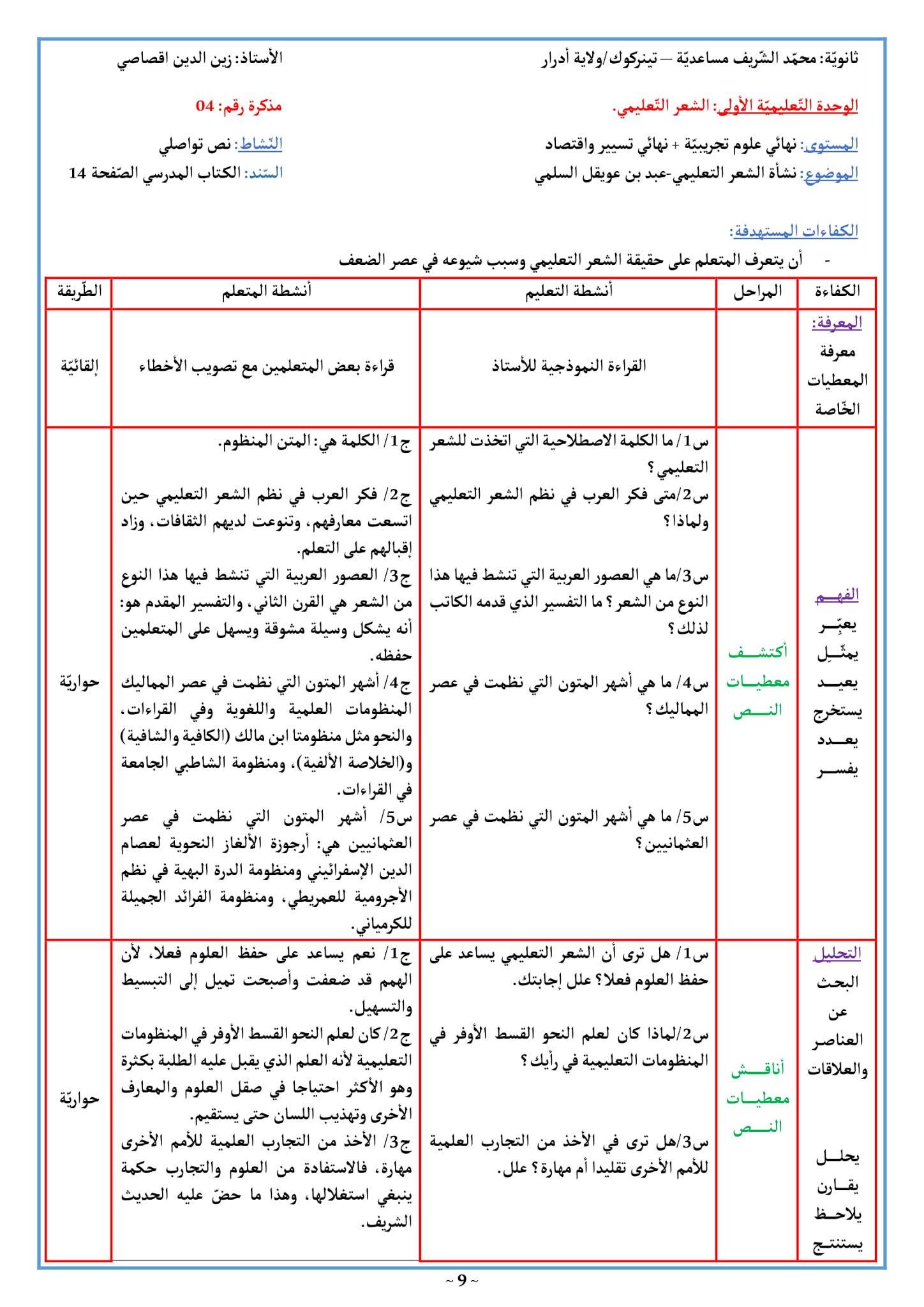 تحضير نشأة الشعر التعليمي 3 ثانوي علمي الصفحة 14 من الكتاب المدرسي