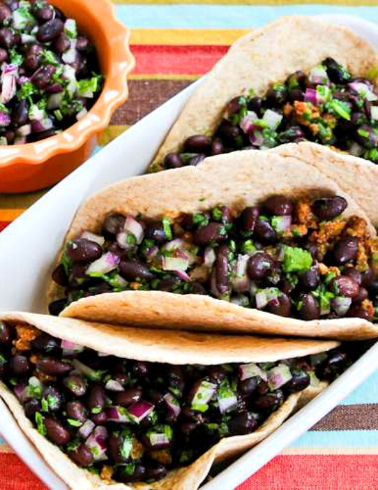 Ground Turkey Green Chile Soft Tacos with Black Bean Cilantro Salsa  found on KalynsKitchen.com.