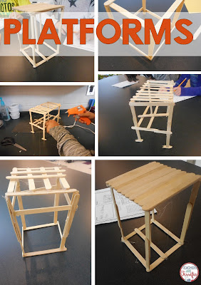 STEM Challenge: Build a platform using craft sticks! There's a trick to getting this built just right because of the task constraints!