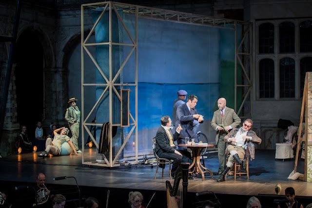Charne Rochford as Courtois, Richard Burkhard as Cascart and John Cleverton as Bussy in Opera Holland Park's production of Zazà, directed by Marie Lambert © Robert Workman