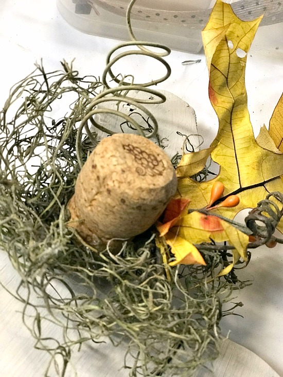 Cork, moss, tendril and fall leaf