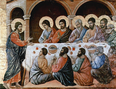Duccio, di Buoninsegna, d. 1319. Christ Appears to the Disciples at the Table after the Resurrection, from Art in the Christian Tradition, a project of the Vanderbilt Divinity Library, Nashville, TN. http://diglib.library.vanderbilt.edu/act-imagelink.pl?RC=49184 [retrieved April 11, 2021]. Original source: www.yorckproject.de.