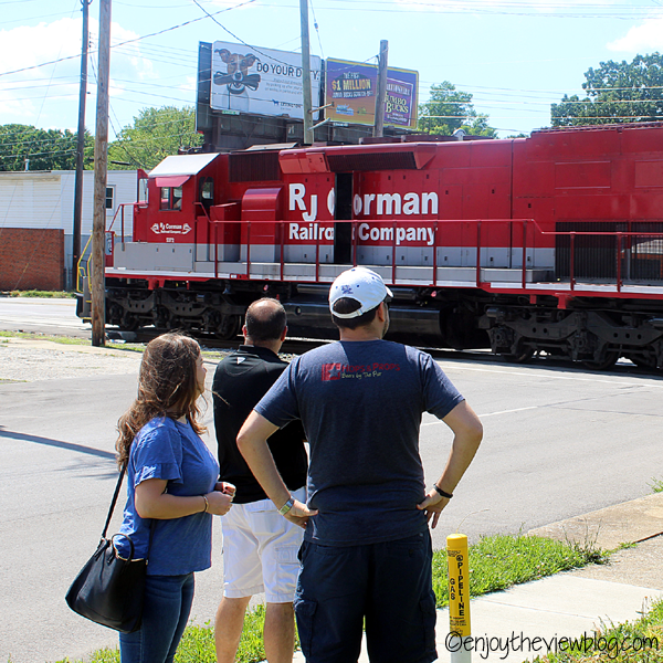 Train outside Blue Stallion Brewing Company in Lexington!