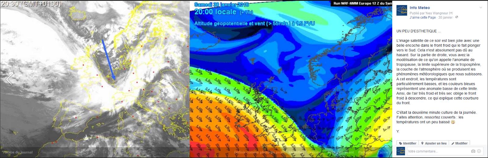 Image illustrant une publication du 30 Janvier à 23h montrant à gauche une image satellite de l'enfoncement de tropopause et à droite une carte illustrant ce même enfoncement de tropopause vu par les modèles