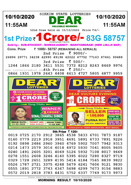 Sikkim State Lottery Result 10.10.2020, Sambad Lottery, Lottery Sambad Result 11 am, Lottery Sambad Today Result 11 55 am, Lottery Sambad Old Result