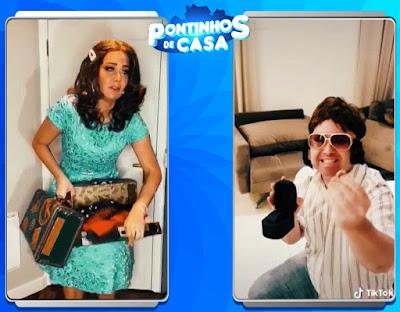 Helen e Porpetone no desafio do Tik Tok (Divulgação/SBT)