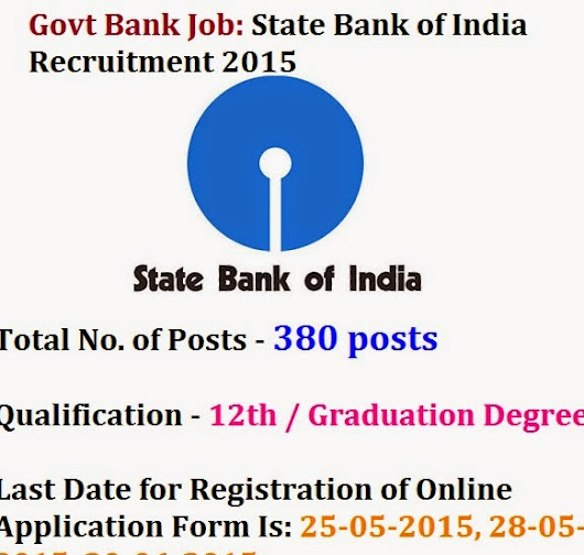 State Bank of India Recruitment 2015