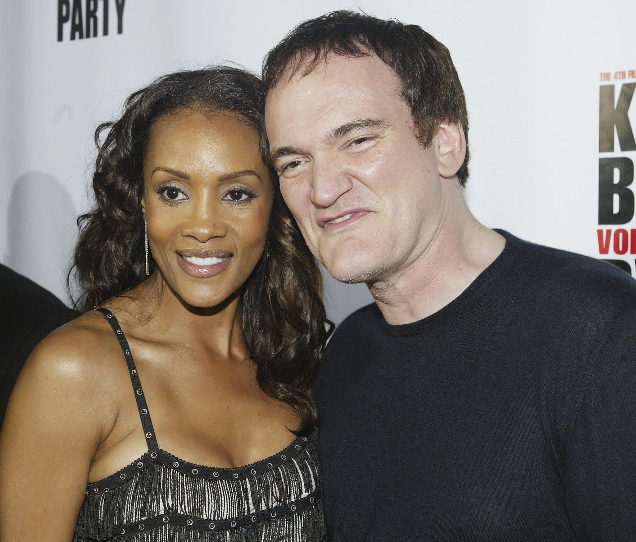 """Vivica A. Fox e Quentin Tarantino participam da """"Festa de Lançamento do Vídeo Kill Bill Vol. 1"""" em 12 de abril de 2004"""