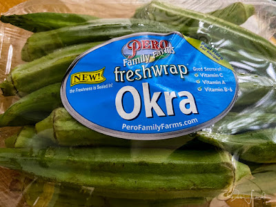 A package of fresh okra.